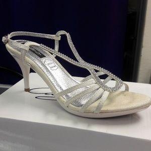 Shoes - White rhinestone ankle strap high heel
